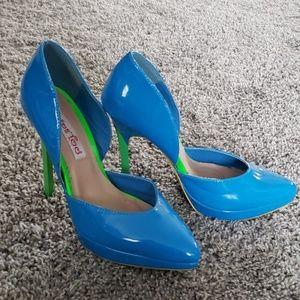 Bright blue stiletto heels